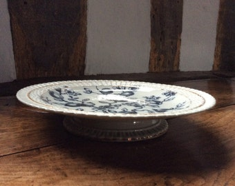 An Antique Victorian Mortlock Monochrome Transfer Decorated Footed Plate/Tazza/Cake Stand