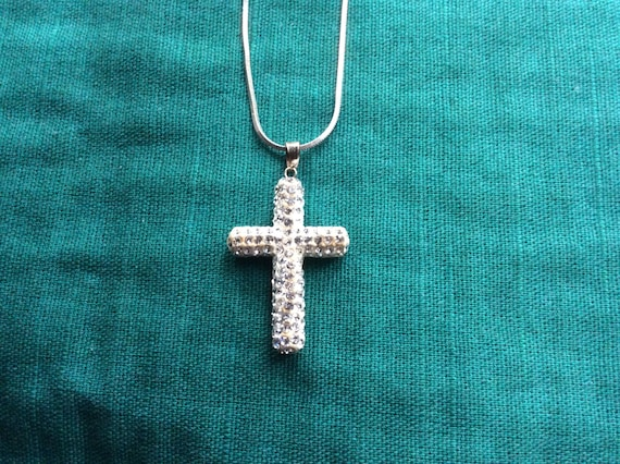 Two Tone 925 Sterling Silver Chain Necklace Greek Square Cz/'s Cross    Cross Slider 18k yellow Gold Filled