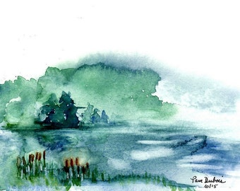 """Lake Watercolor PRINT called  """"The Mist"""" of my original watercolor painting, available in two standard sizes 5 x 7 or 8 x 10"""