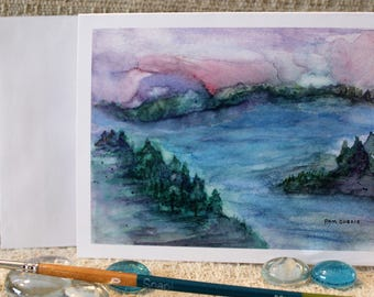 """Sea Coast Watercolor - 12 blank Note cards of original painting  """"Twilight Over the Bay"""", standard size 4.25 x 5.5 with envelopes"""