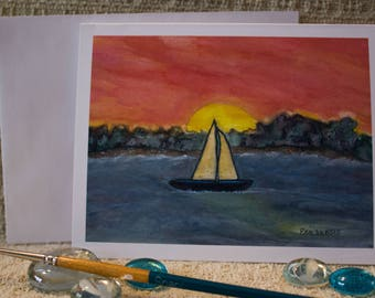 """Sailing at Sunset Watercolor - 12 blank Note cards of original painting  """"Sunset Sail"""", standard size 4.25 x 5.5 with envelopes"""