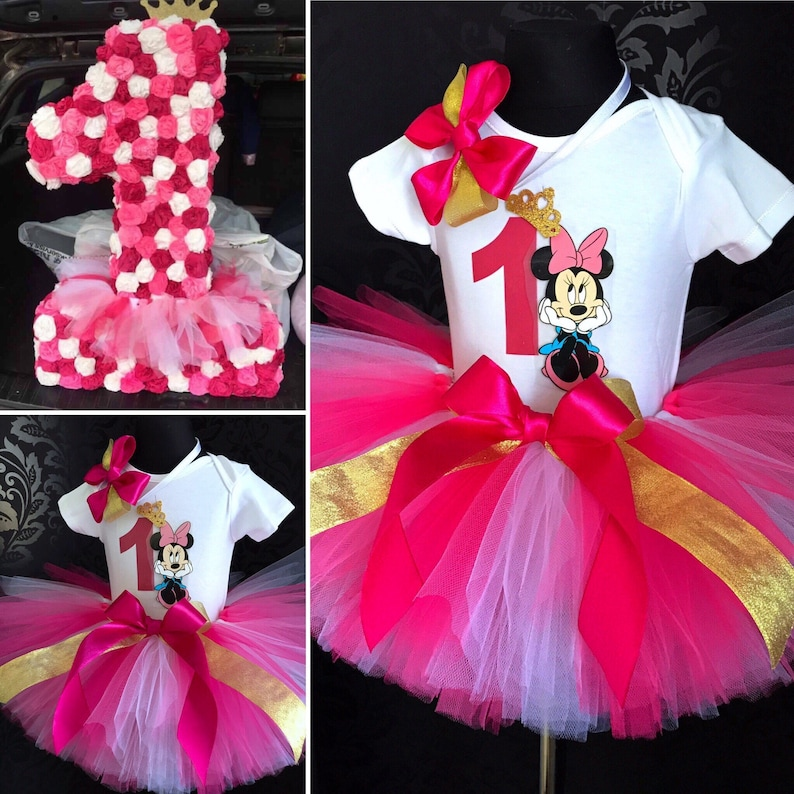 866edd73a3 Extra puffy Minnie Mouse tutu birthday dress gold fucsia pink | Etsy