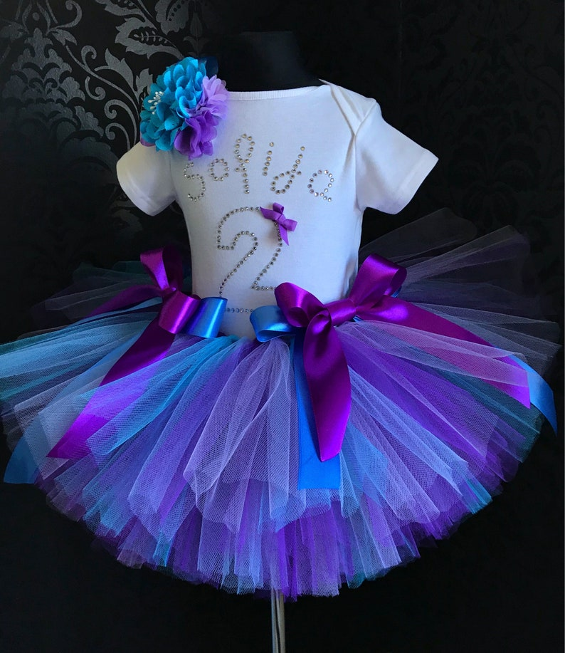 4316648b93 Personalized name 2nd birthday outfit tutu set purple blue | Etsy