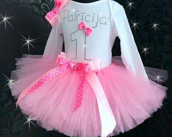 Personalized tutu outfit custom tutu set birthday tutu dress costume tulle tutu skirt name pink dots pink europe tutu 1st birthday tutu pink