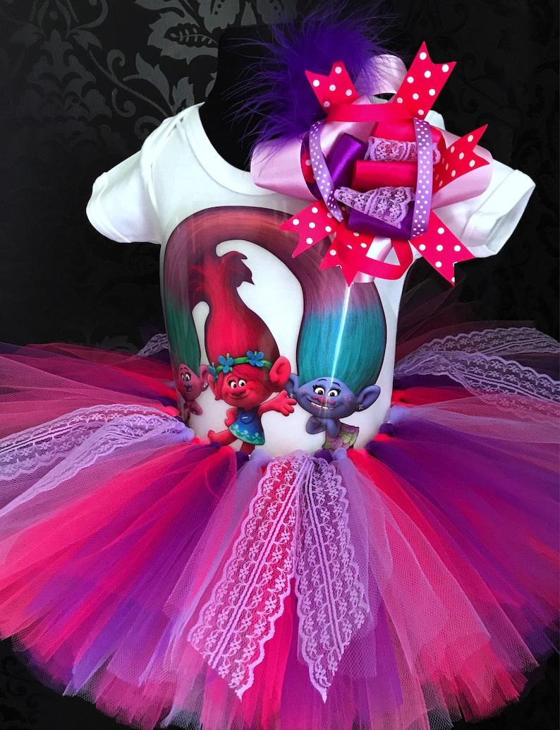 Princess poppy trolls outfit tutu set puffy tutu skirt t-shirt and headband birthday tutu halloween party outfit dress europe costume