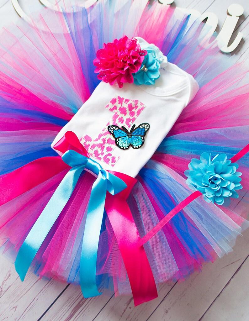 a73959469 Pink blue Butterfly tutu birthday tutu outfit 1st 2st 3st   Etsy