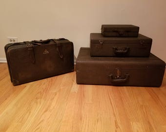 Rare Walrus Skin Leather Suitcases - Set of 4
