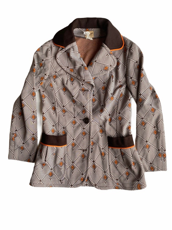 Vintage 1970s Kitschy Polyester Blazer