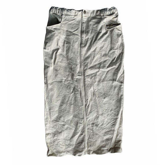 Vintage 1990s Tan Denim Maxi Skirt - image 1