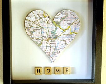 Personalised Framed Map Heart