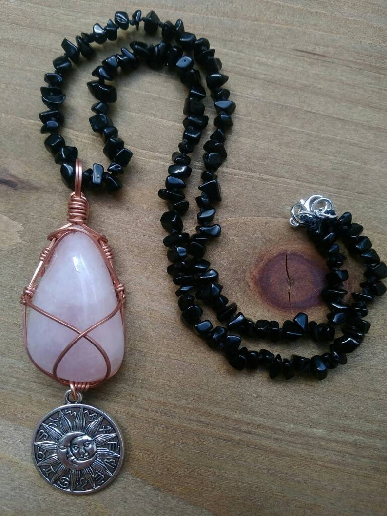 Rose Quartz Necklace  Crystal Necklace  Sun /& Moon Necklace  Crystal Wire Wrap  Crystal Jewelry  Sun and Moon Jewelry  Black Obsidian