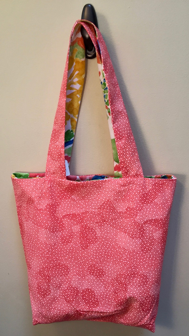 Colorful Floral Print  Coral Polks Dots Tote Bag with Pockets