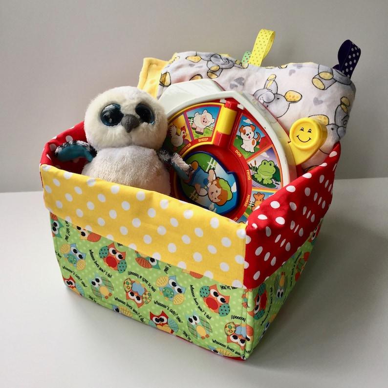 Owls Green Polka Dots Soft-sided Fabric Bin