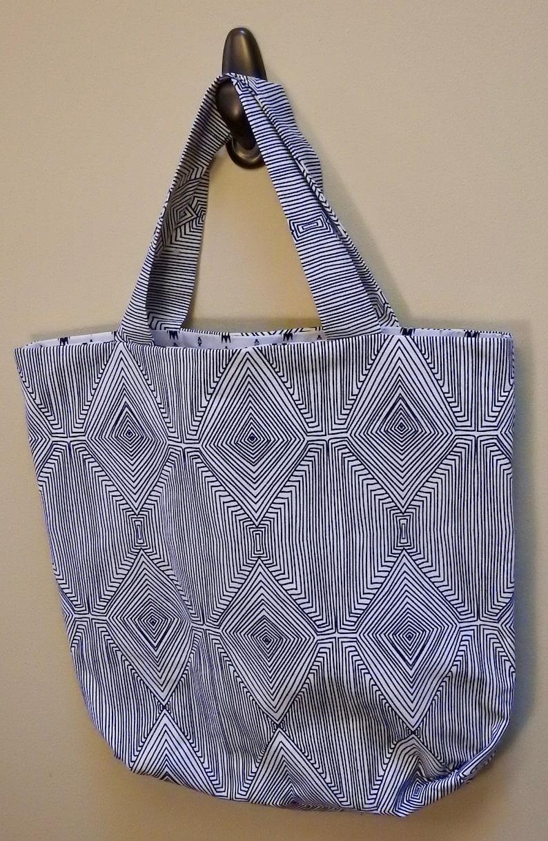 Blue and White Geometric  Southwestern Reversible Tote Bag