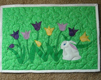 Tulips and bunny quilted wall hanging/table topper
