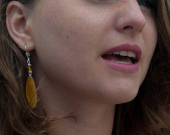Earrings - Petals of Sunflower - 925 Silver - Amber