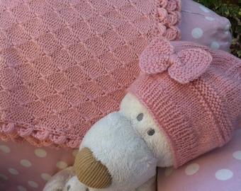 Merino wool blanket, pure wool blanket, merino wool plaid, baby gift, girl plaid, knitted merino blanket, pink blanket, baby cover, baby set