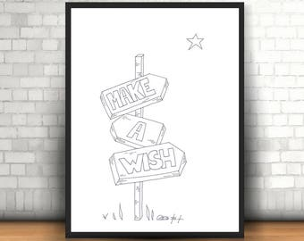 Make a wish, printable poster, home decor, download, digital art