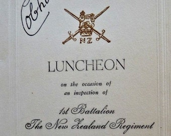 New Zealand Army 1957. Signed Menu by The Governor General Viscount Cobham