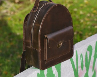 Personalized Backpack. Women's Leather Backpack. Rucksack. Leather Satchel. Laptop.