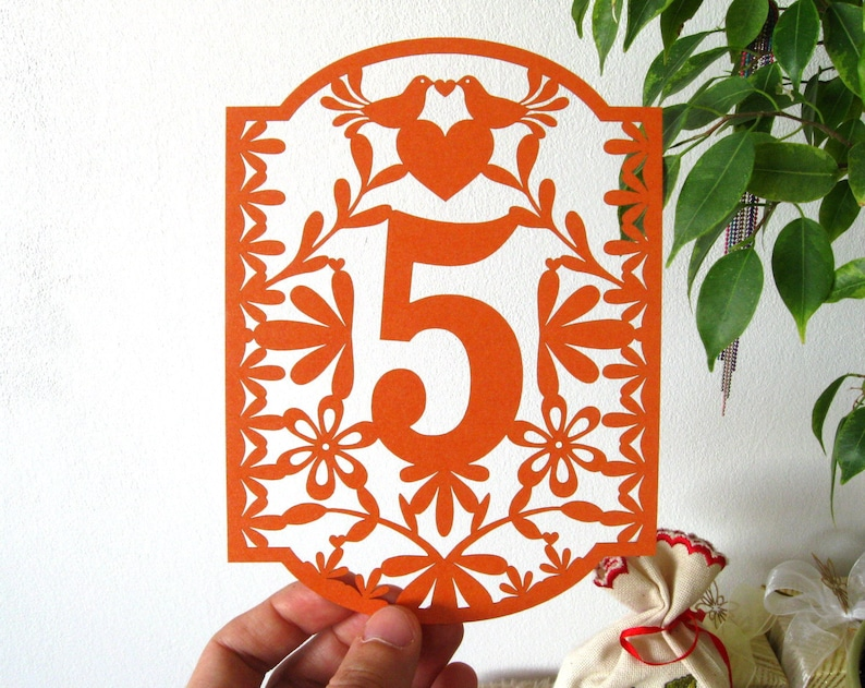 Table Numbers Papel Picado Numbers Mexican Wedding Colorful image 0