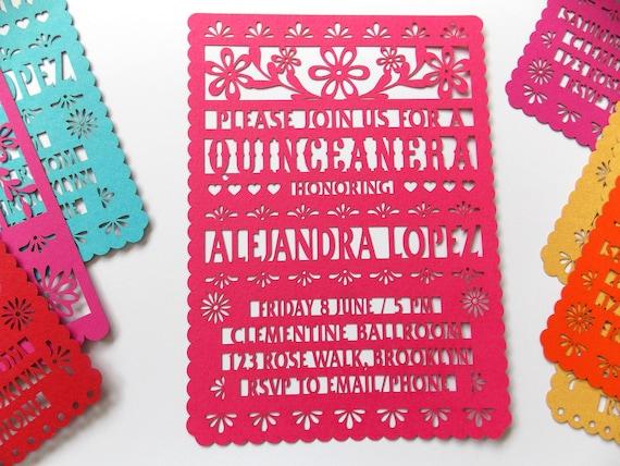 Quinceanera Invitations Quinceanera Invites Papel Picado Etsy