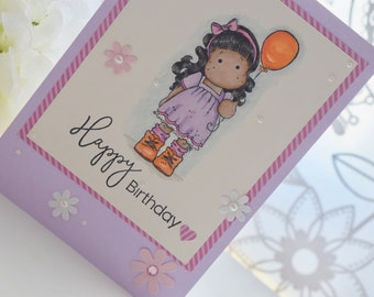 Lilac handmade, hand stamped, hand coloured birthday card with Magnolia Tilda image