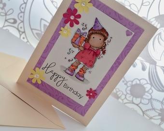 Handmade, 5 x 7 hand stamped, Magnolia Tilda, birthday card