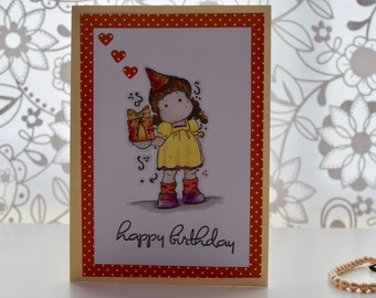 Handmade stamped and hand coloured Magnolia tilda Birthday Card with sentiments inside