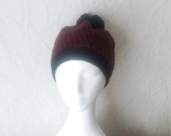 Crochet Beanie Hat, Burgundy red beanie hat
