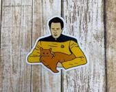 Data Holding a Cat sticker, Star Trek sticker, waterbottle sticker