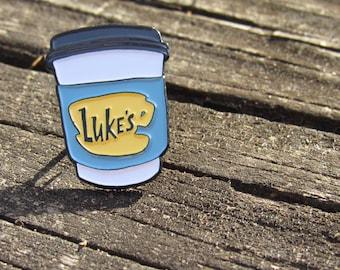 """Luke's Diner Travel Mug 1"""" Soft Enamel Pin, Gilmore Girls"""