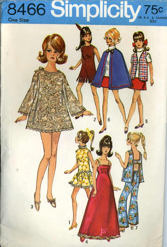 "Vtg 1960s Doll Dress Clothes Pattern ~ 11.5/"" Barbie Tressy Midge Annette"