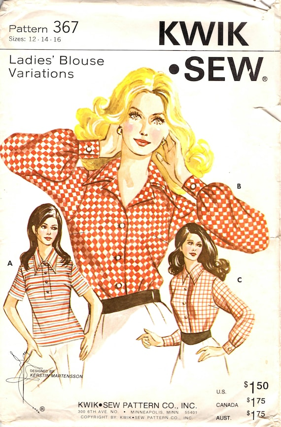 Kwik Sew 367 Ladies Blouse Pattern Size 12 14 16 For Knit Or Etsy
