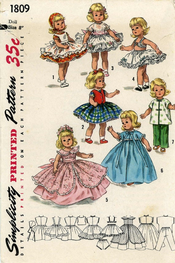 Vintage Doll Clothes Pattern 2150 for 9 10 inch Ginny Wendy Muffie by Vogue
