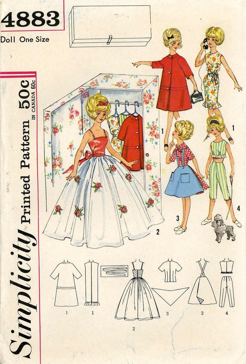 Doll Clothing PATTERN Barbie Cher Farrah Mitizi Gina Kay Polly Jr Babs Simplicity 4883 size 11.5 inch Teen Model dolls Closet pattern 1960s