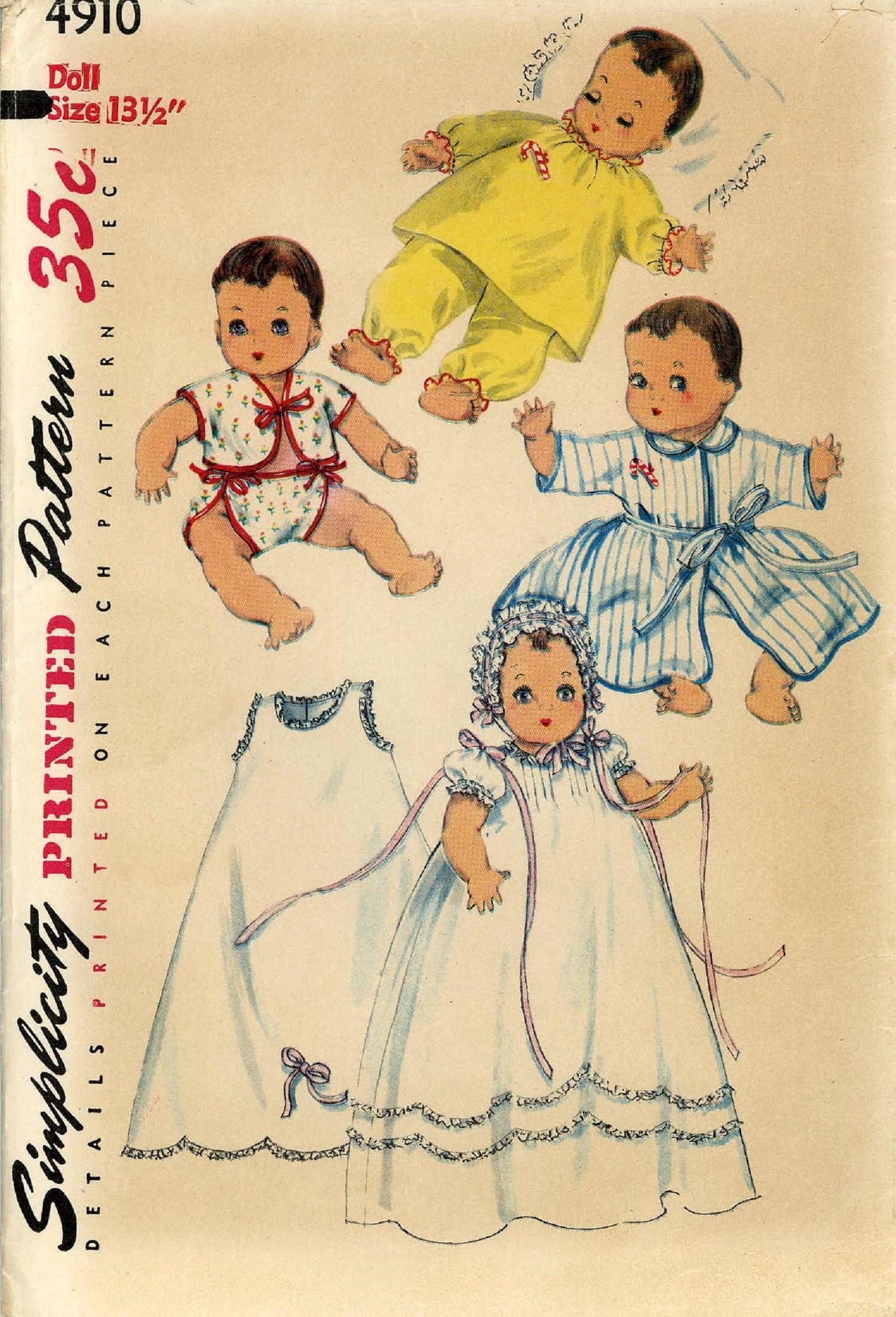 "Vtg Doll Pattern Christening Dress ~ 13/"" 14/"" Betsy Wetsy Dy Dee Tiny Tears"