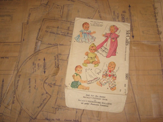 "Vtg 1950s Baby Doll Clothes Pattern ~ 15/"" 16/"" 17/"" Tiny Tears Betsy Wetsy Dy Dee"