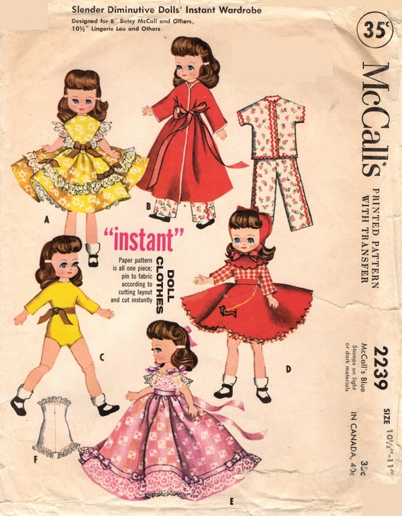 Vintage Doll Clothing Pattern 2239 For Betsy Mccall Lingerie Etsy
