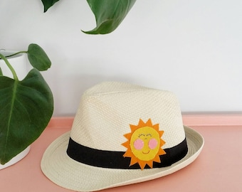 Adult trilby sun hat with smiley sunshine