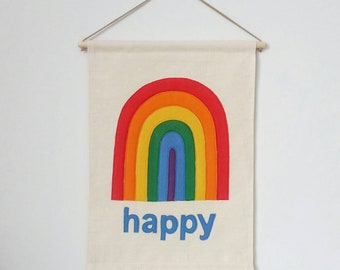 Happy Rainbow banner, wall hanging