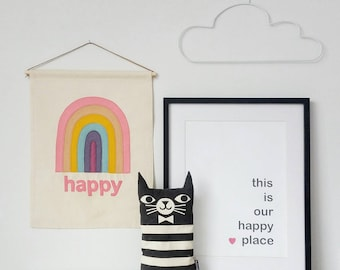 Pastel Happy Rainbow banner, wall hanging