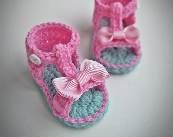 Crochet Baby Sandals, Crochet Baby Shoes, Baby girl sandals, saummer shoes, pink baby shoes, pink bow, babyshower, birthday, newborn gift