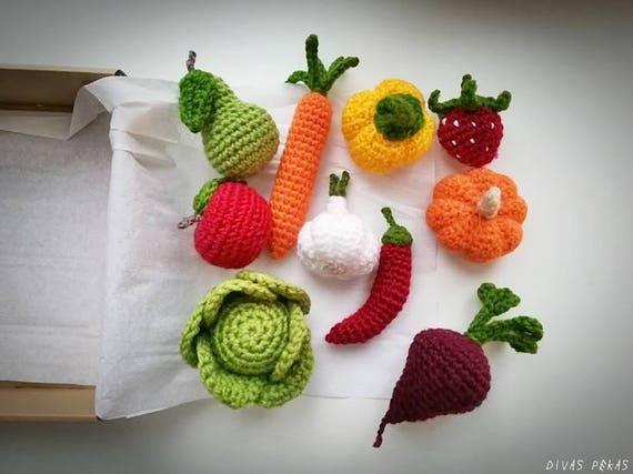 Turbo Häkeln Gemüse Obst Satz von 10 spielen Essen Set vorgeben | Etsy BF71