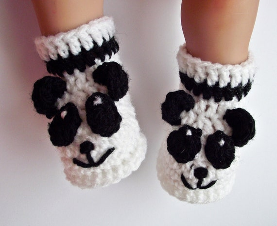 Häkeln Sie Babypanda Babyschuhe Häkeln Sie Panda Babyschuhe Etsy