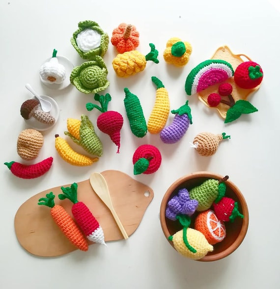 Häkeln Sie Gemüse und Obst (Satz von 9) Spielen Lebensmittel Set vorgeben  spielen Spielzeug pädagogische Spielzeug, Eco Spielzeug Amigurumi Essen