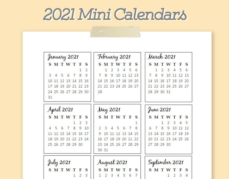 2021 Mini Yearly Calendar Printable Template PDF | Etsy