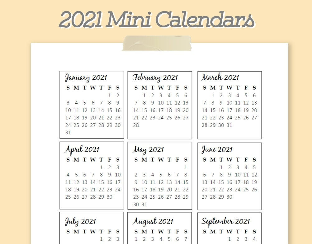2021 Mini Yearly Calendar Printable Template PDF | Etsy