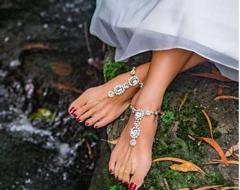 Jewelled barefoot sandals for BRIDES and BRIDESMAIDS *Beach weddings!*
