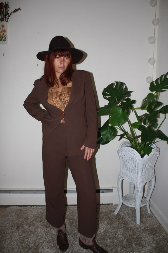 Vintage 1990's Brown Pant Suit / High Waisted Pant